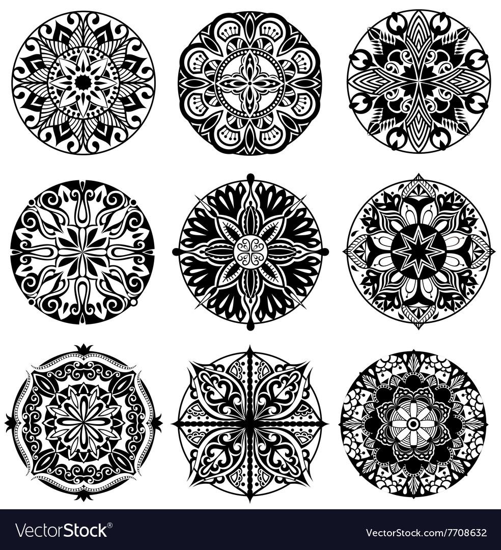 Set of Ornament round mandalas