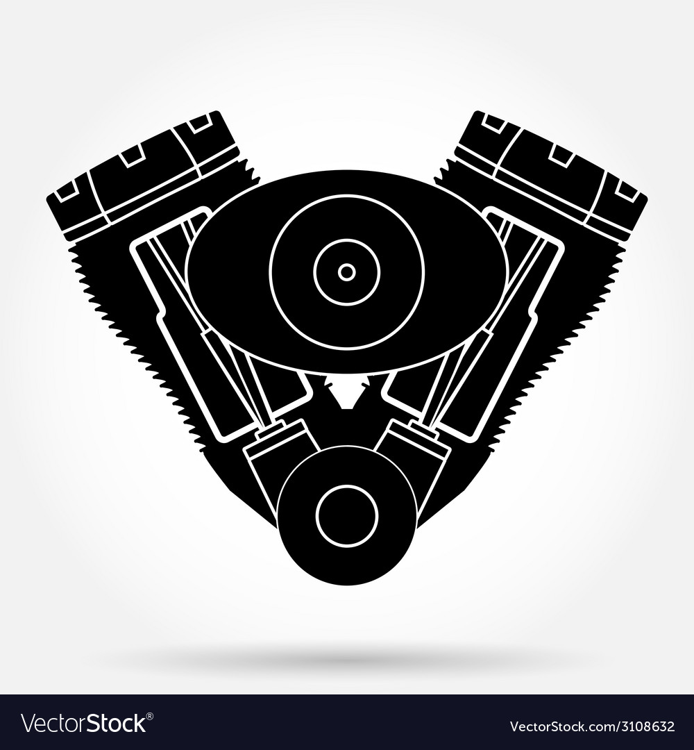 Silhouette symbol of retro motorcycle engine vector image