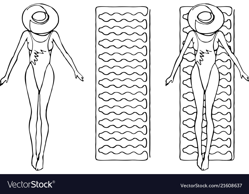 A woman in swimsuit swims on a mattress line art