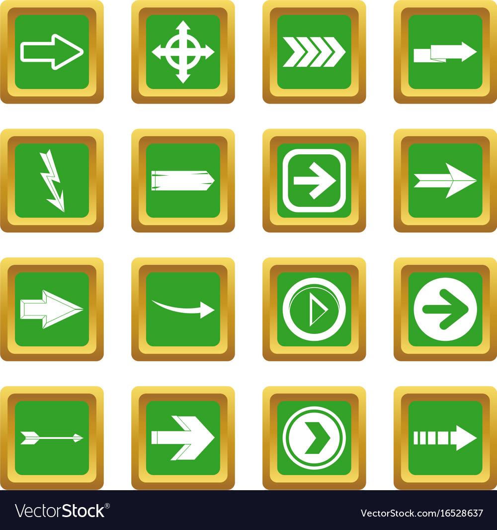 Arrow icons set green vector image