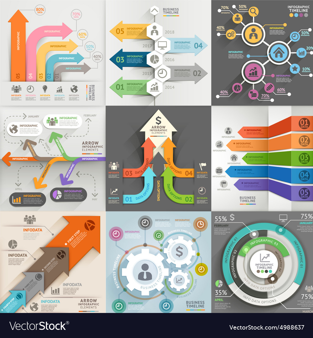 Arrows business marketing infographic template vector