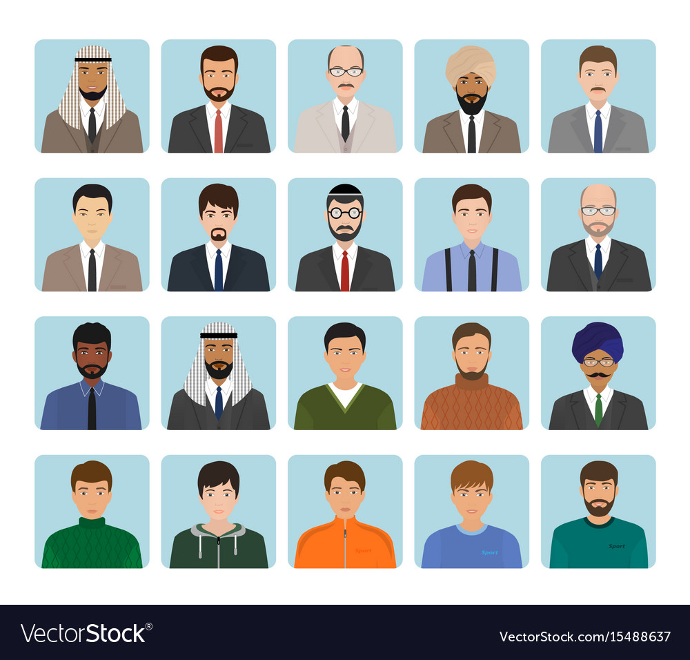 Avatars characters set of different kind men