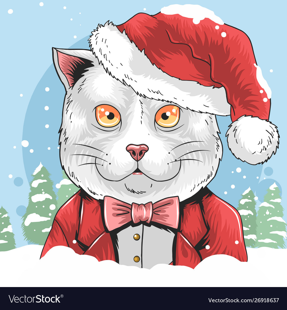 Cat christmas with santa claus hat artwork