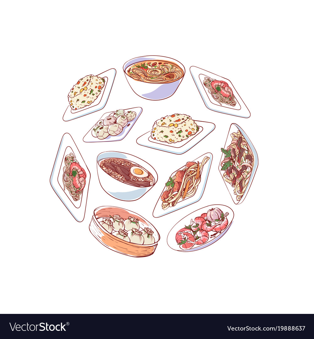 Chinese cuisine poster with asian dishes