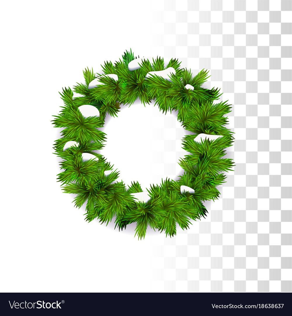Christmas wreath with snow