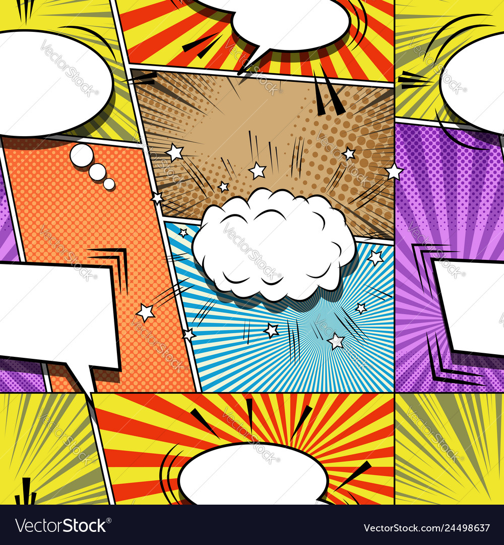 Comic explosive creative seamless pattern