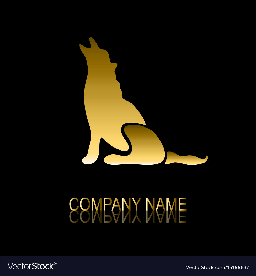 Golden wolf symbol vector image