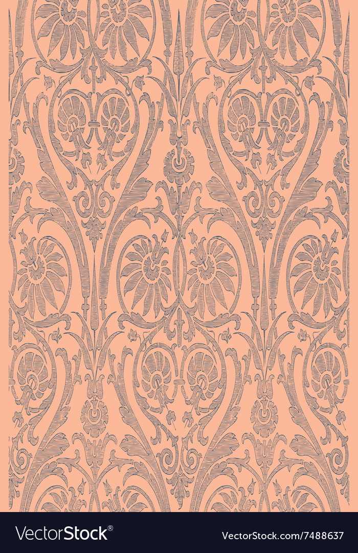 Hand drawn seamless striped damask background