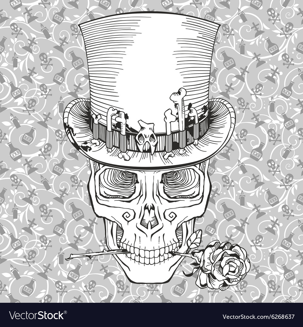 Human skull in a top hat baron samedi vector image