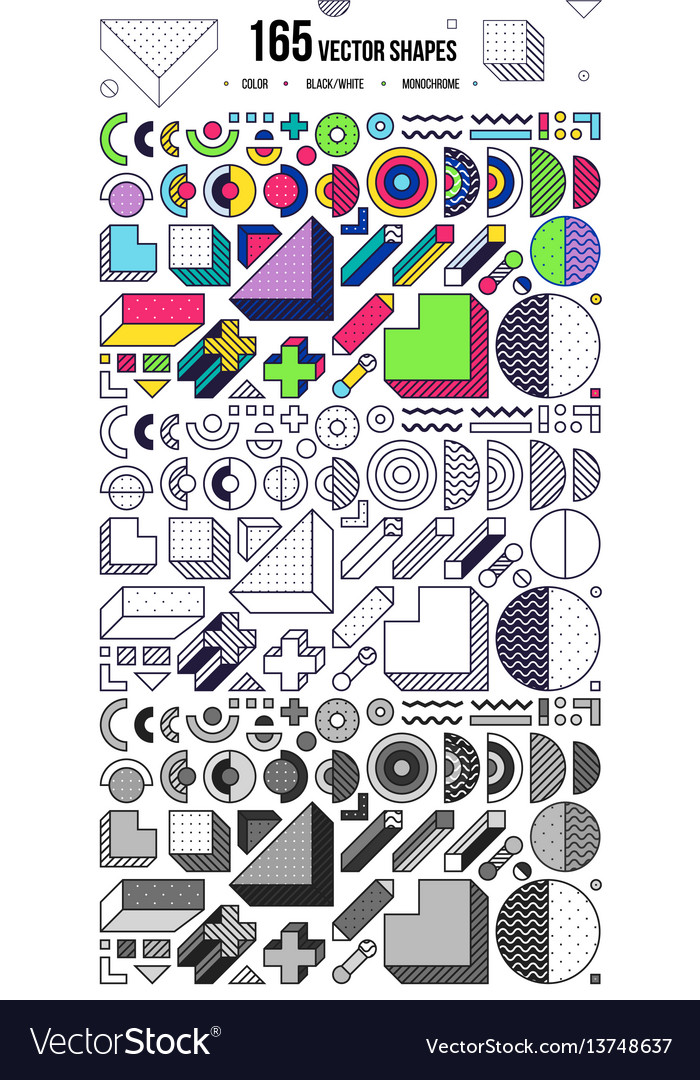 Mega collection with design elements vector image