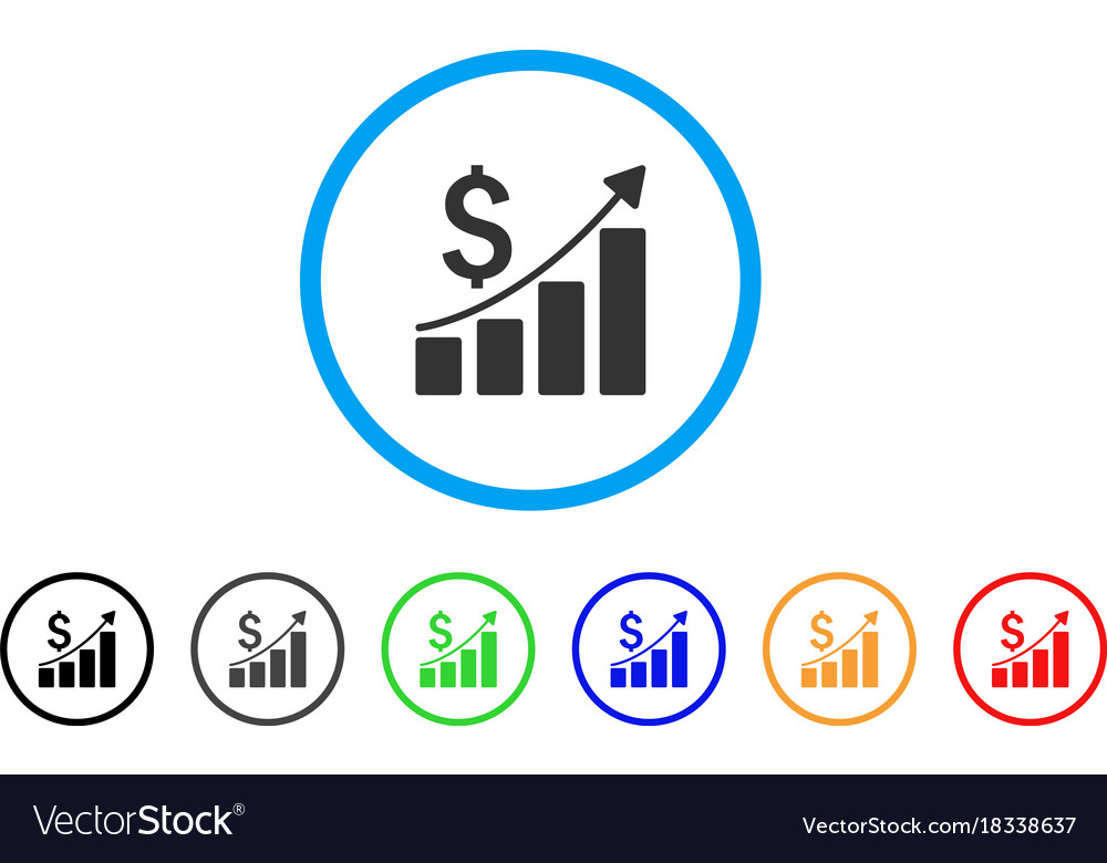 Sales growth chart rounded icon