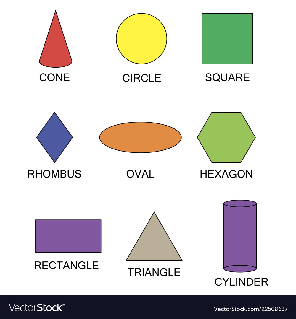 Set geometric shapes suitable for educational