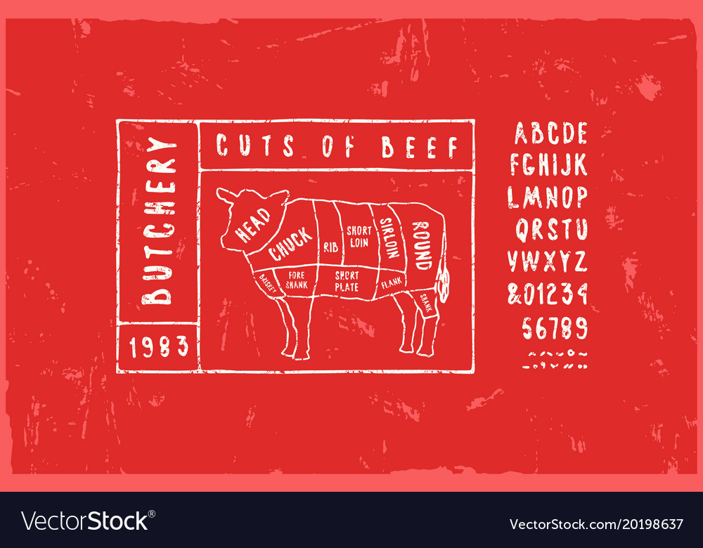 Stock Beef Cuts Diagram Royalty Free Vector Image