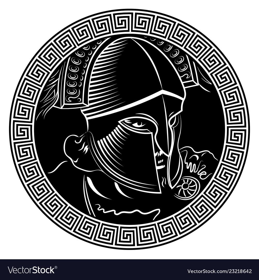 Ancient spartan warrior helmet and greek ornament