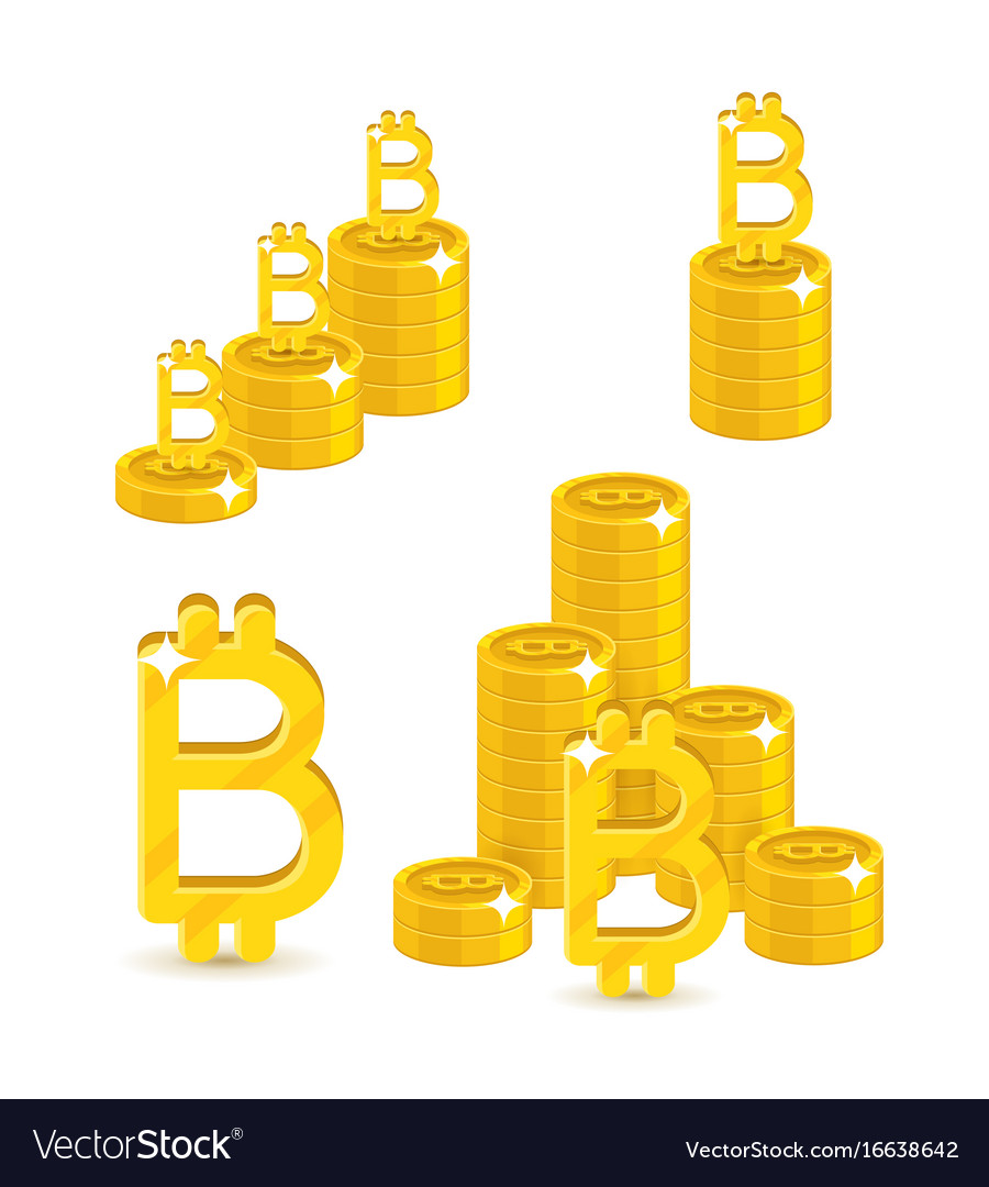 Bitcoin letter stacks vector image