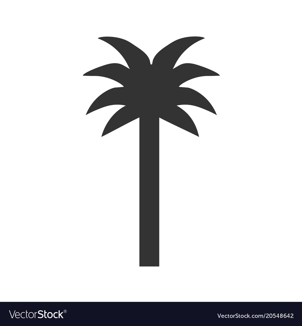 Black single palm tree silhouette icon
