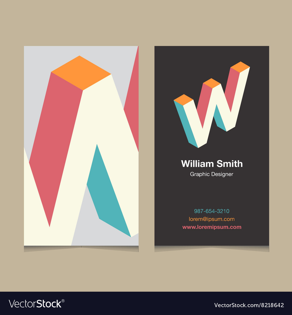 Business card letter W