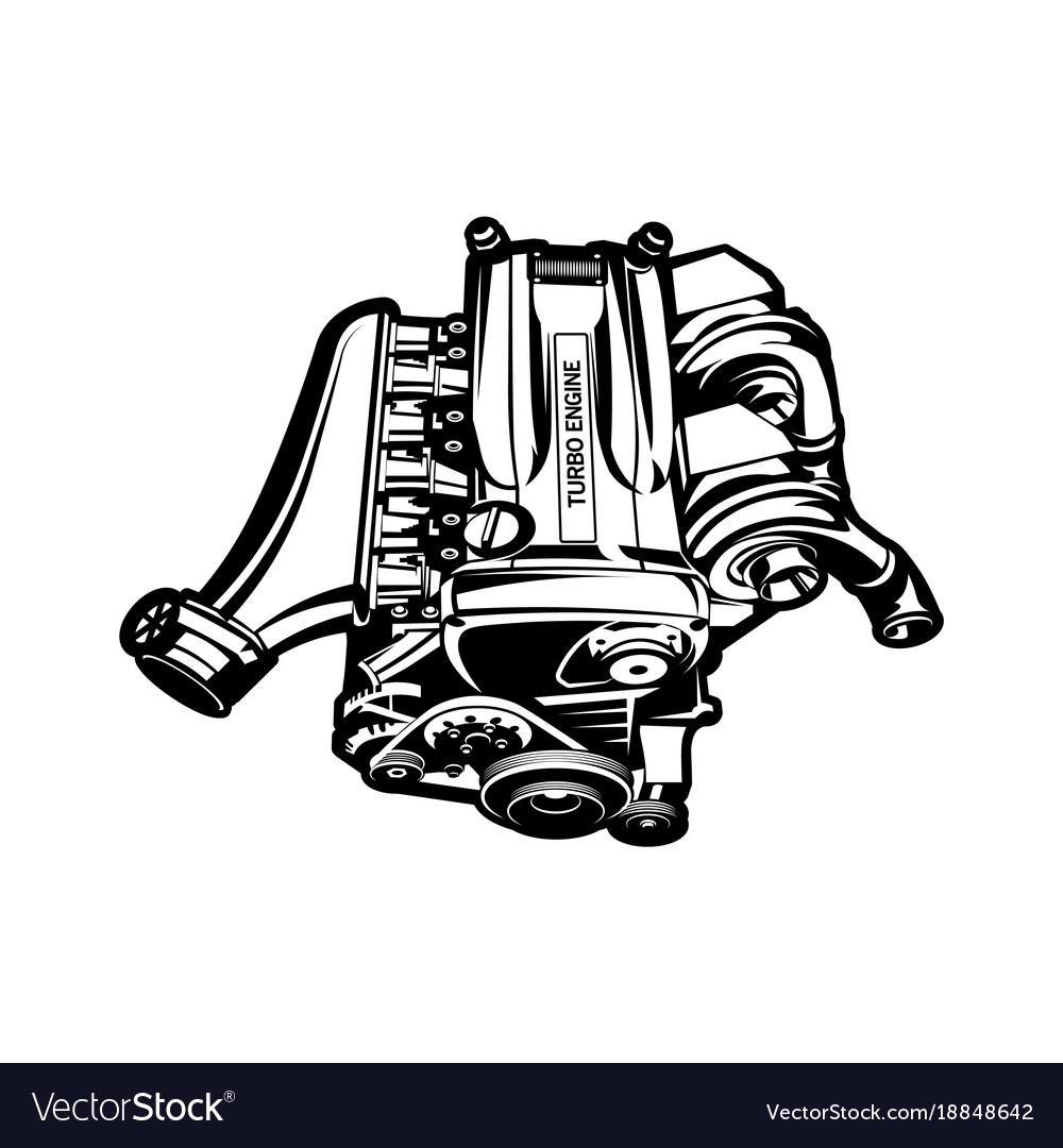 Car Engine Turbo Muscle Car Speedster Royalty Free Vector