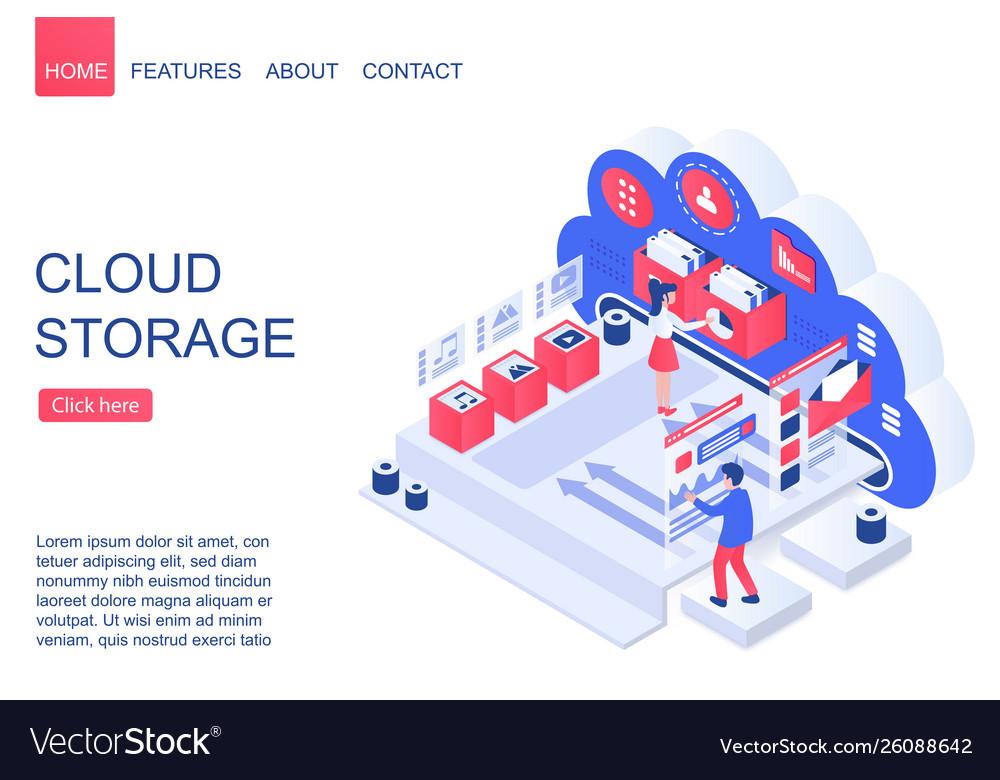 Cloud storage isometric landing page