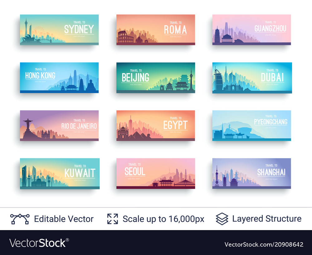 Collection of famous asian city scapes