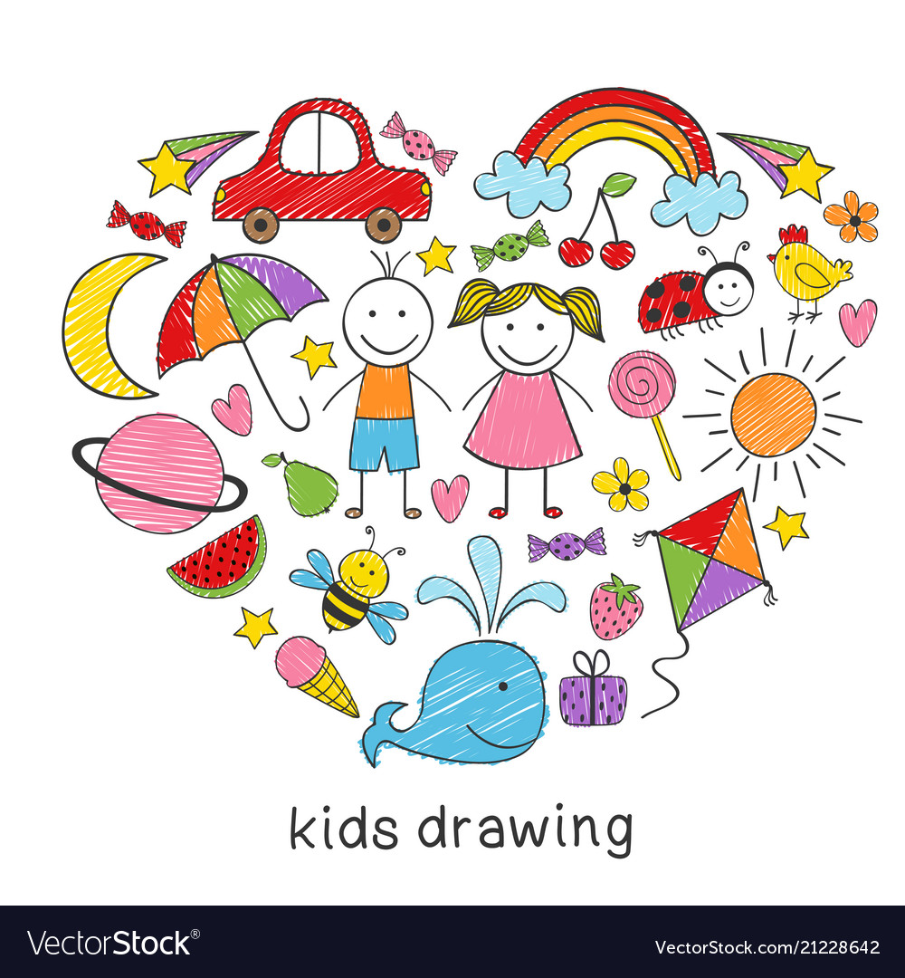 Colored Kids Drawings In Form Of Heart Royalty Free Vector
