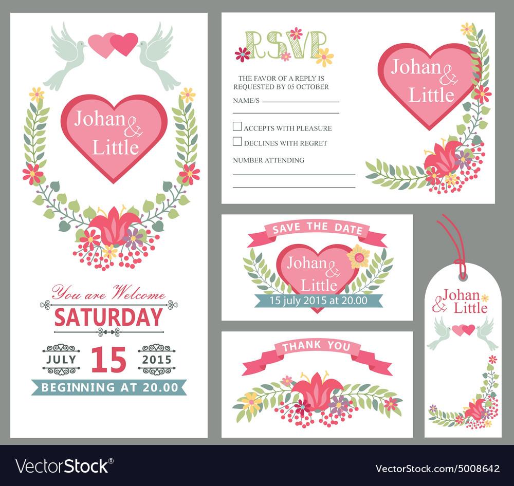 Cute wedding card design template setfloral decor vector image junglespirit Image collections