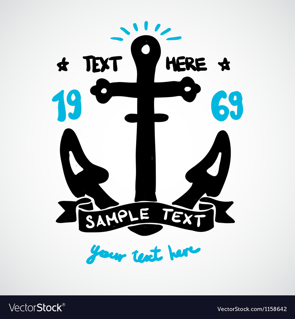 Doodle anchor with place for your text
