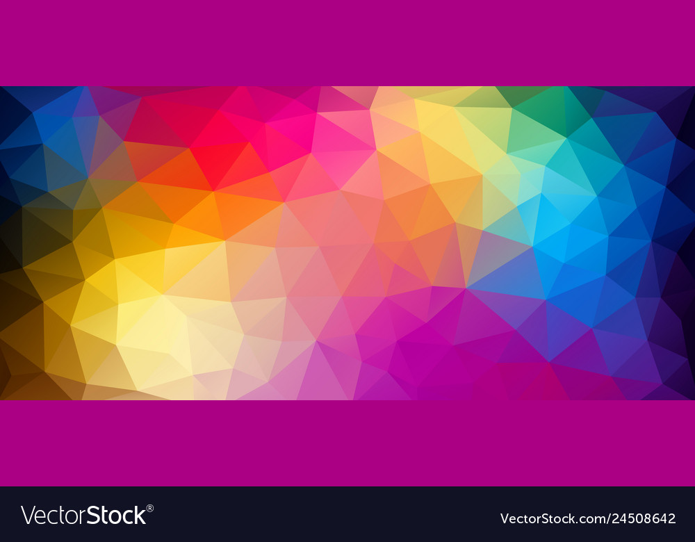 Flat horizontal bright color geometric triangle