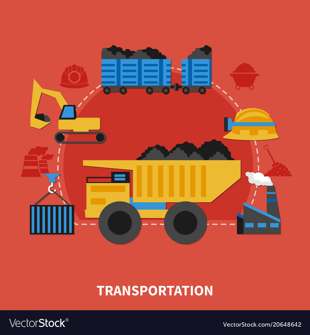 Flat mining concept vector image