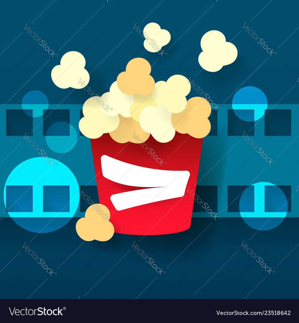 Hot popcorn in a glass cinema film