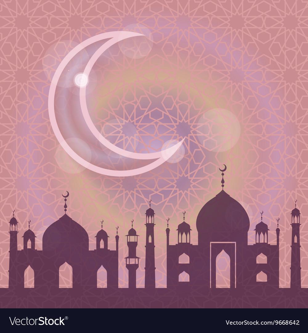 Islammusulma pattern backgroundMosquemoonLilac vector image