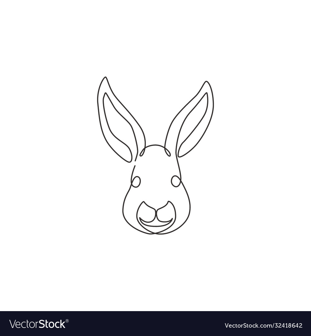 One continuous line drawing adorable rabbit