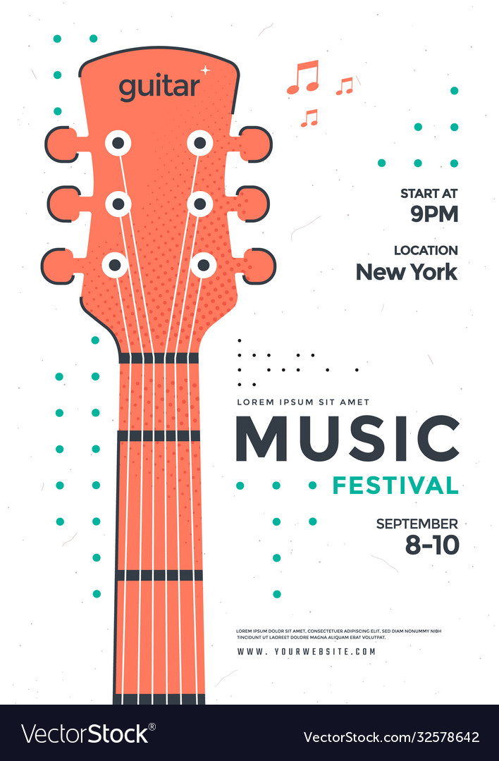 Rock poster design with stylized guitar