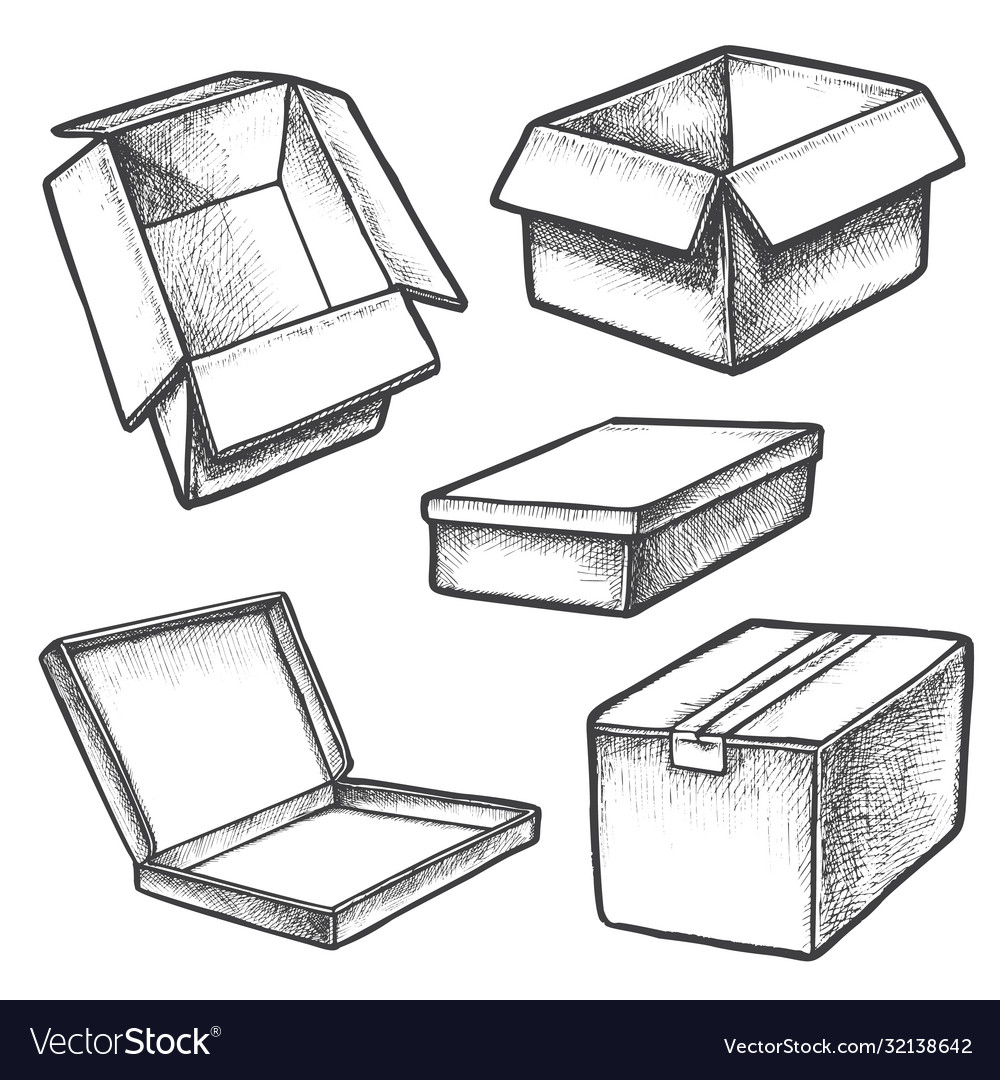 Set box sketches or cargo containers package