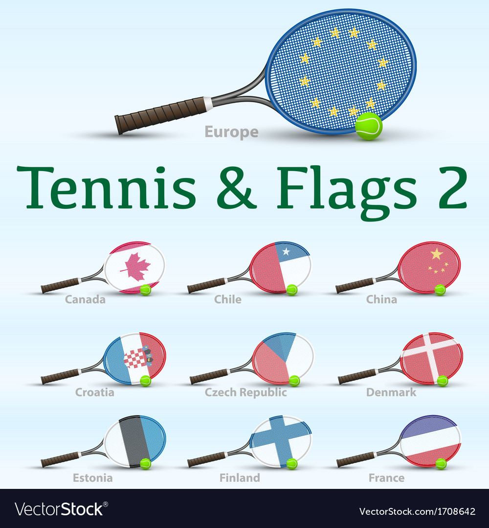 Tennis rackets flags vector image