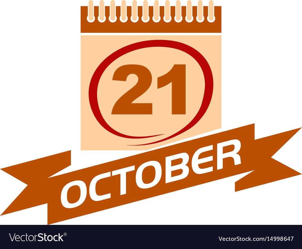21 october calendar with ribbon