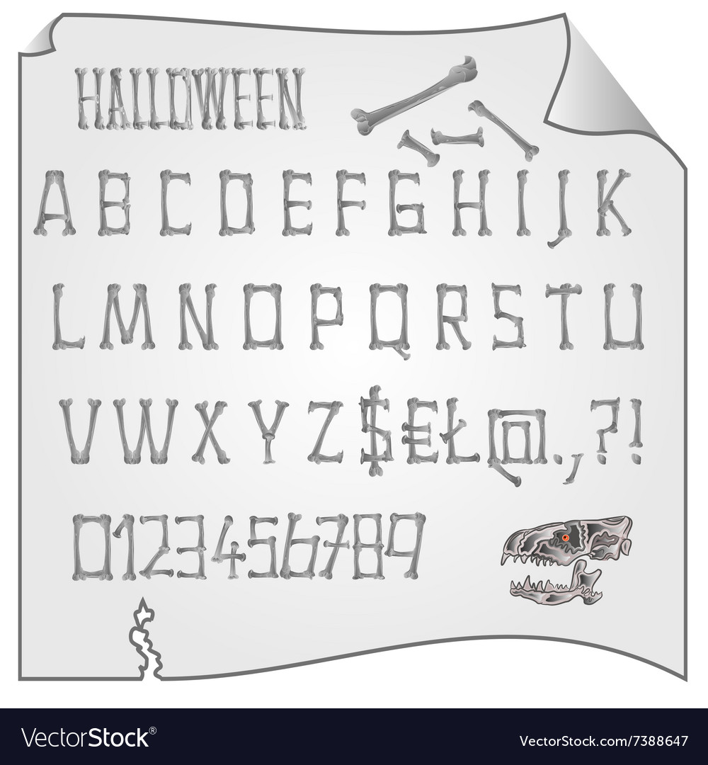 Alphabet from bones Halloween mystery fonts