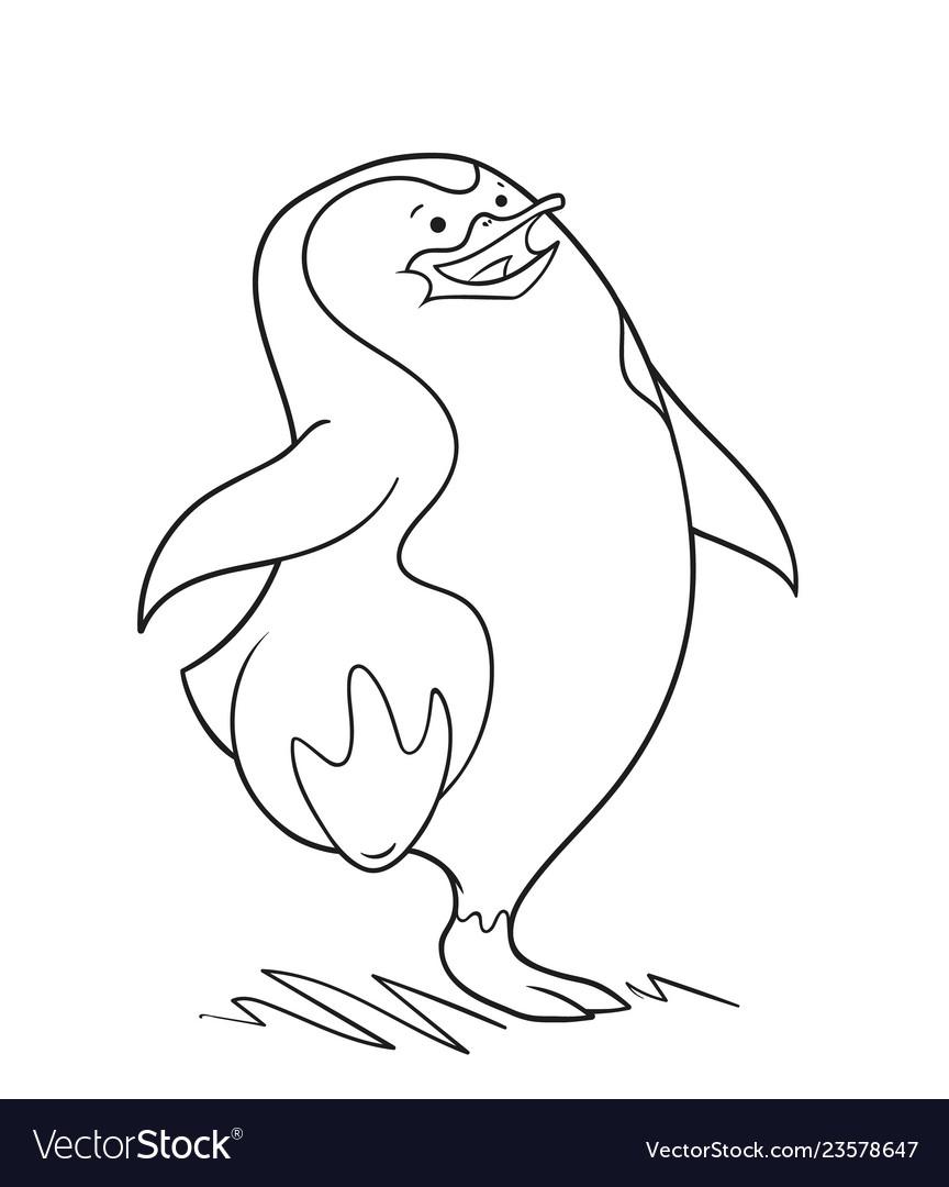 Cute penguin is walking oultine