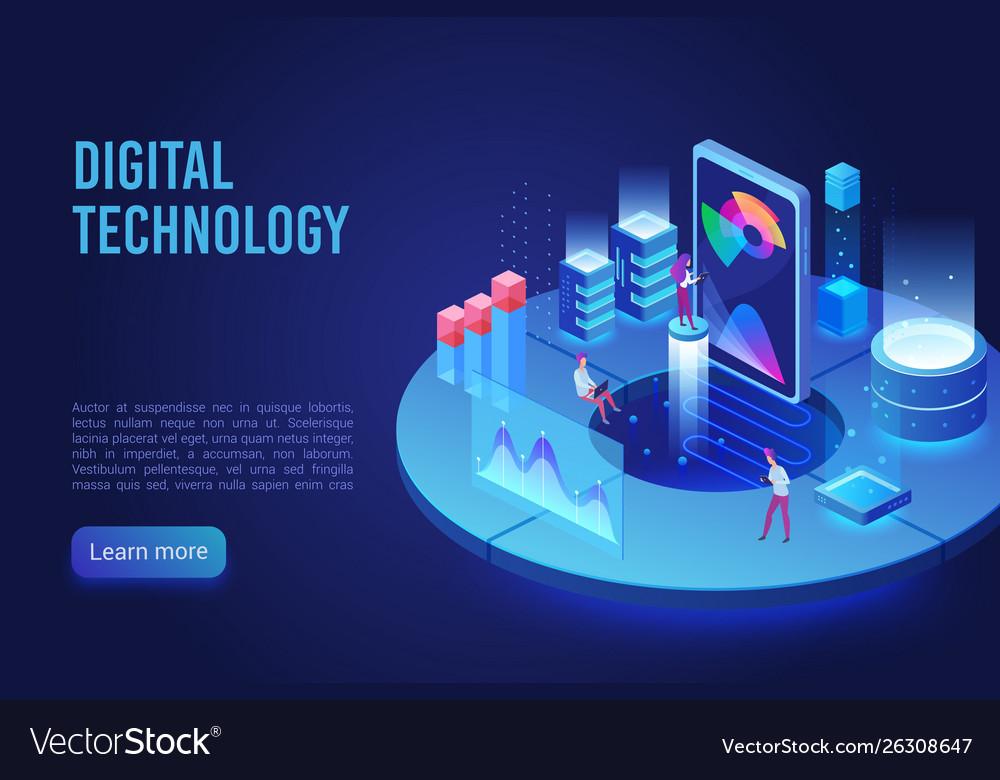 Digital and internet technology dark neon light