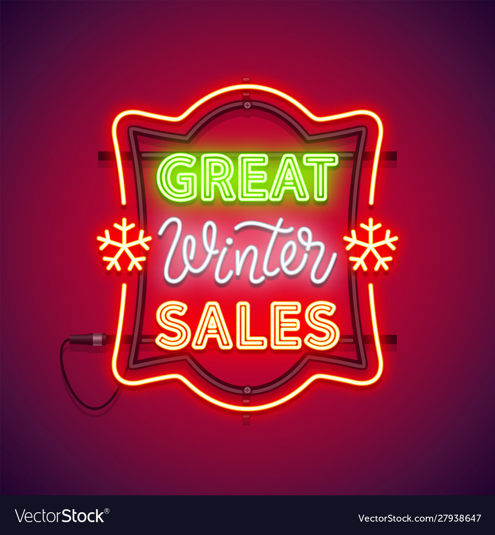 Great winter sales christmas neon sign