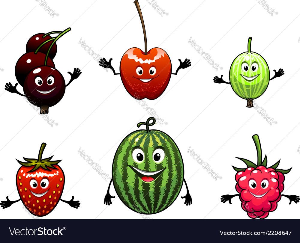 Happy friendly fruit vector image