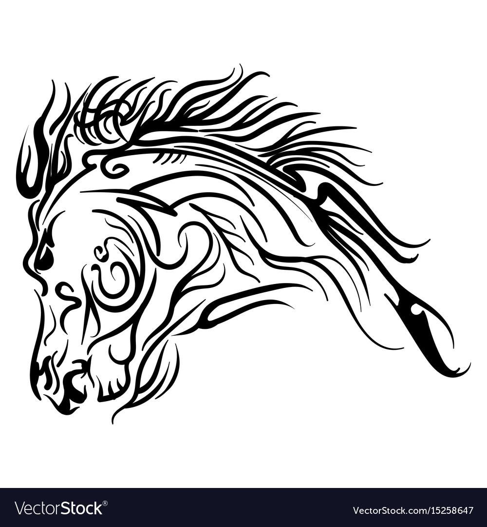 Line Art Horse Head Tattoo Sketch Royalty Free Vector Image