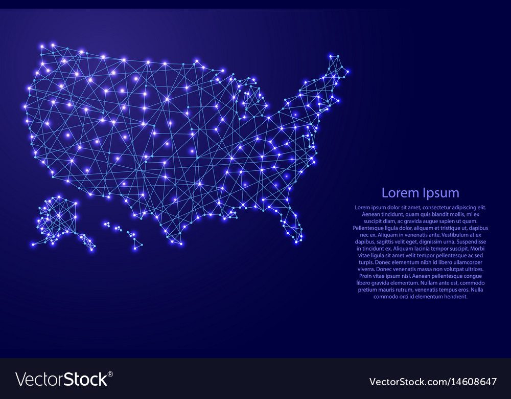 Map of usa from polygonal blue lines