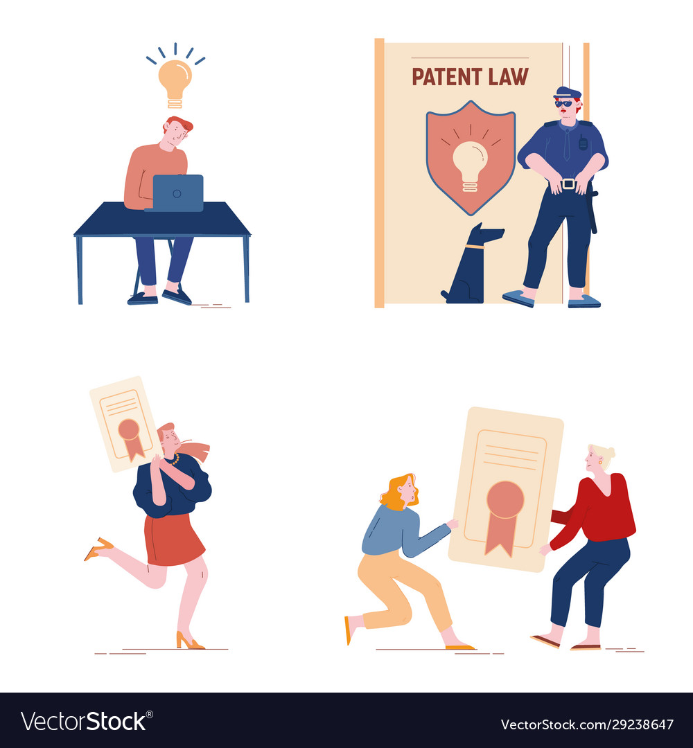 Patent law set with people authors create mental