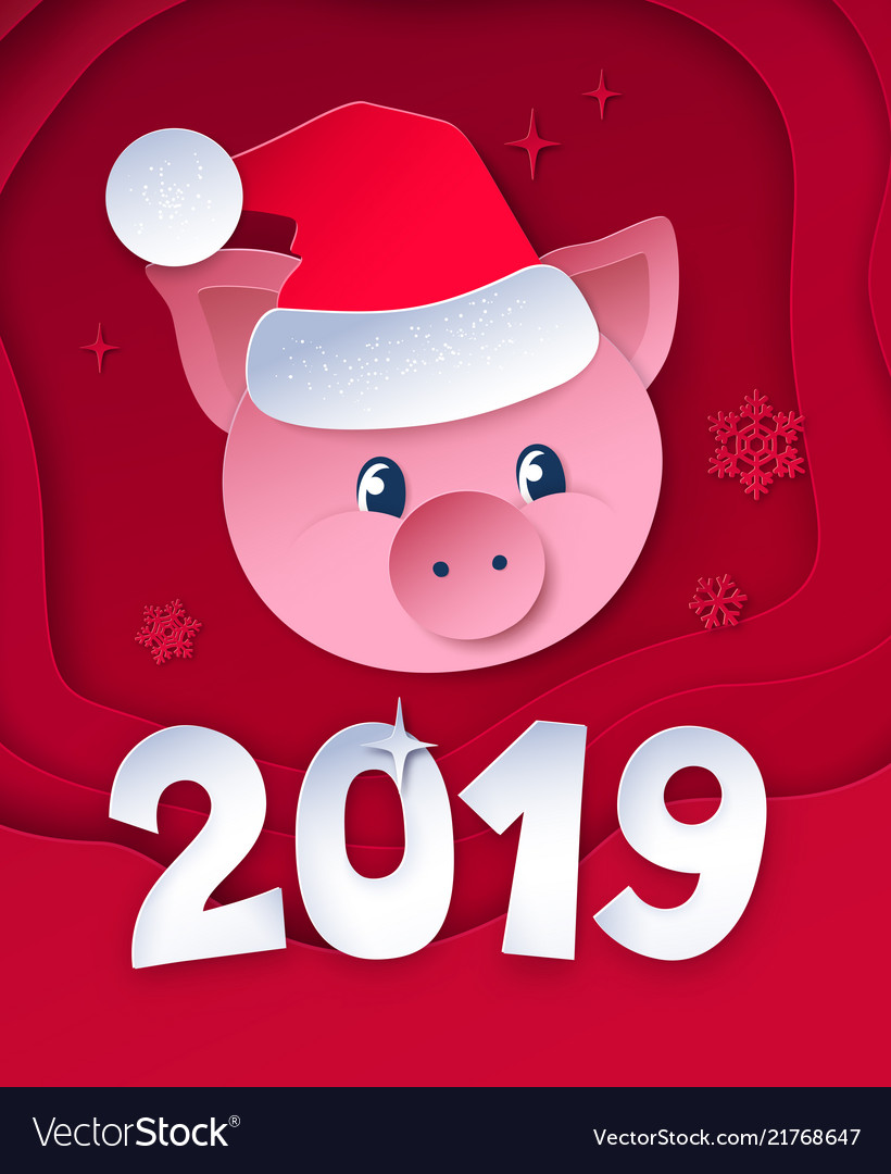 Postcard with cute new year pig