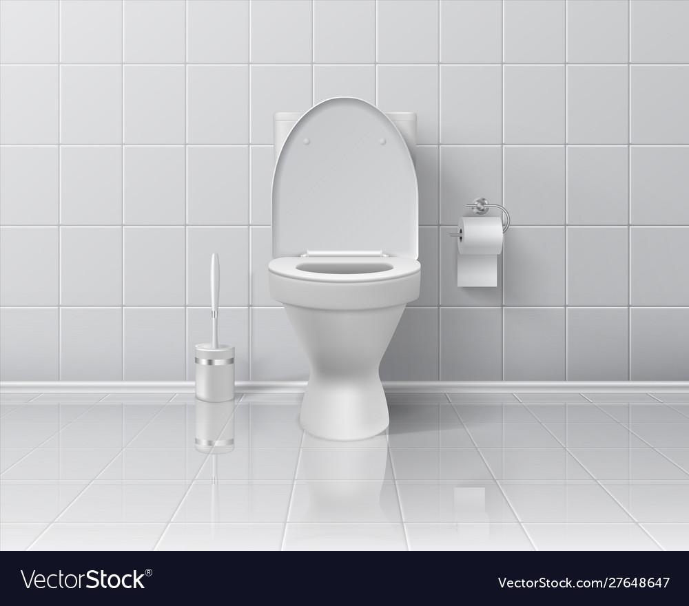 Realistic toilet 3d room interior mockup