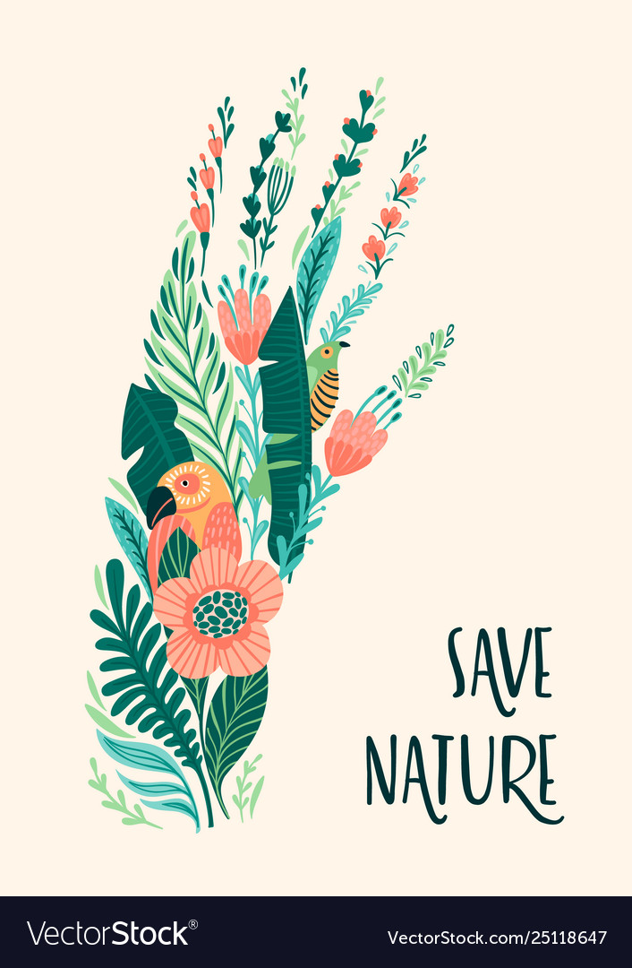 Save nature earth day template design