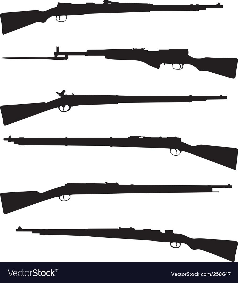 Six old shotguns vector image