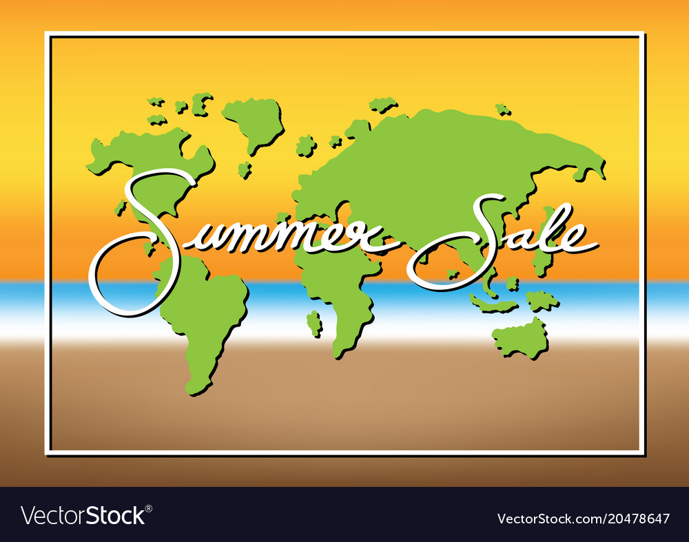 Summer sale promotion season with world map sea Vector Image
