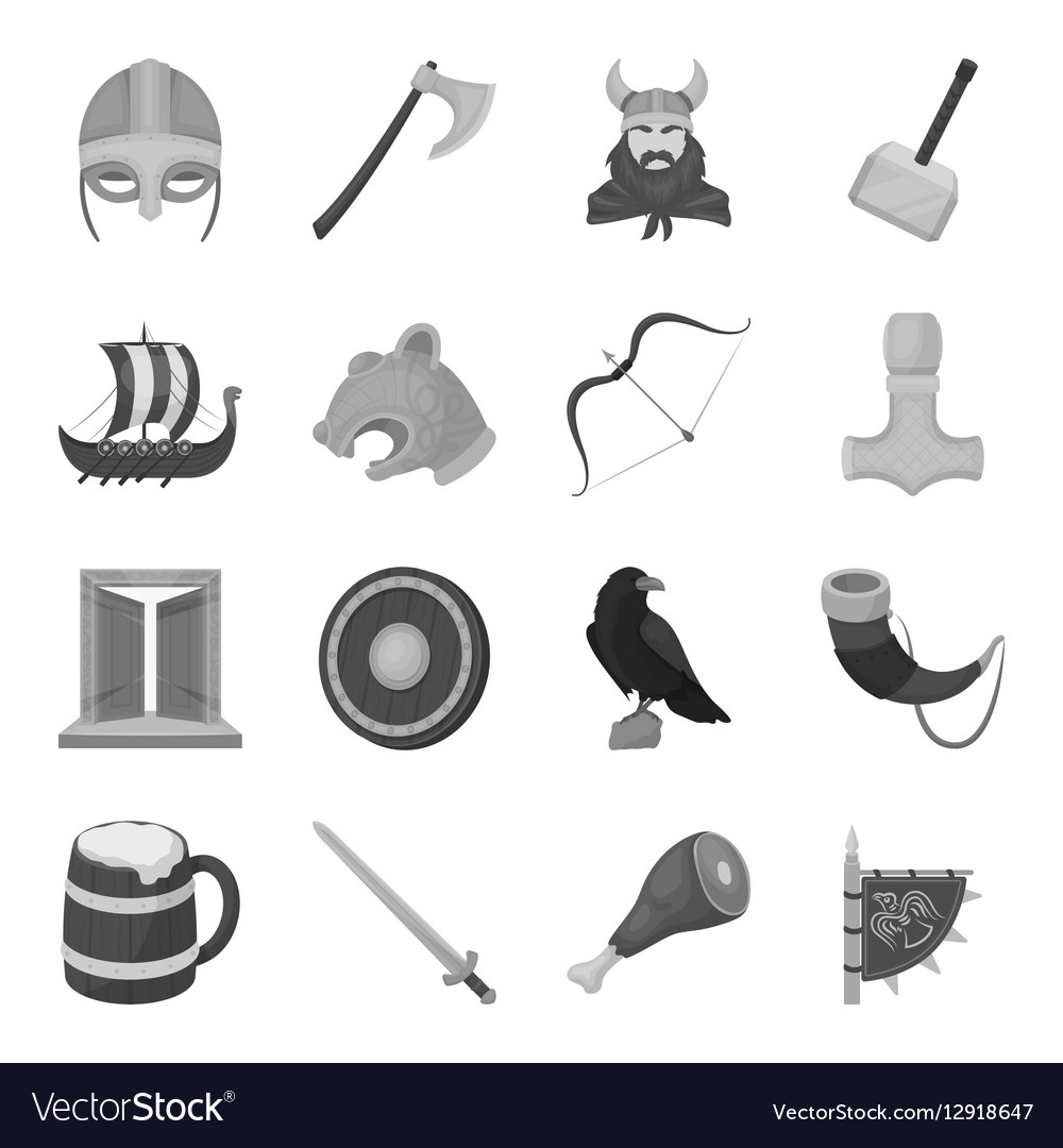 Vikings set icons in monochrome style Big